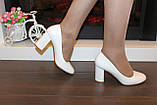 Туфли женские белые на каблуке код Т023, фото 6