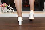 Туфли женские белые на каблуке код Т023, фото 7