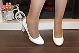 Туфли женские белые на каблуке код Т023, фото 8