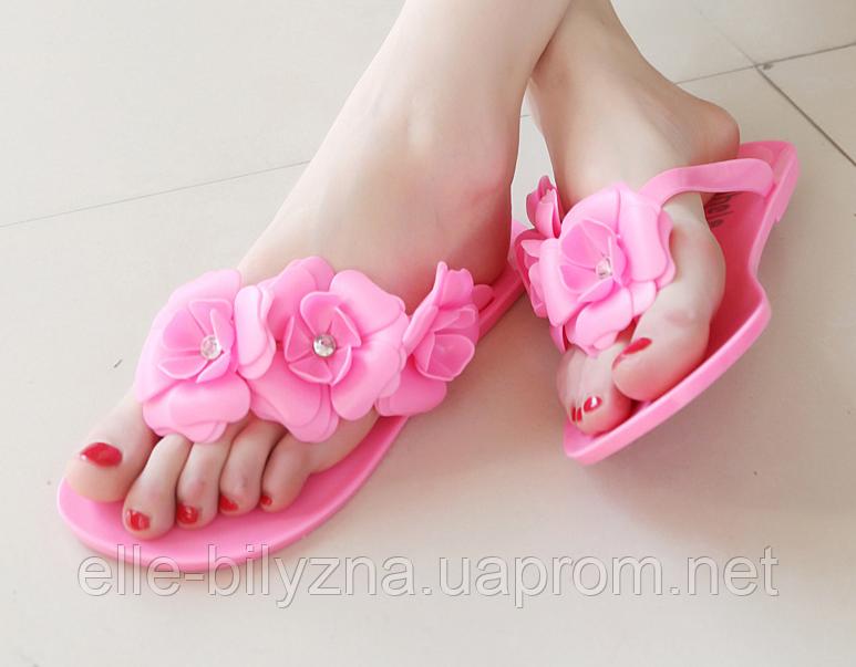 Вьетнамки женские розовые с цветами Б84