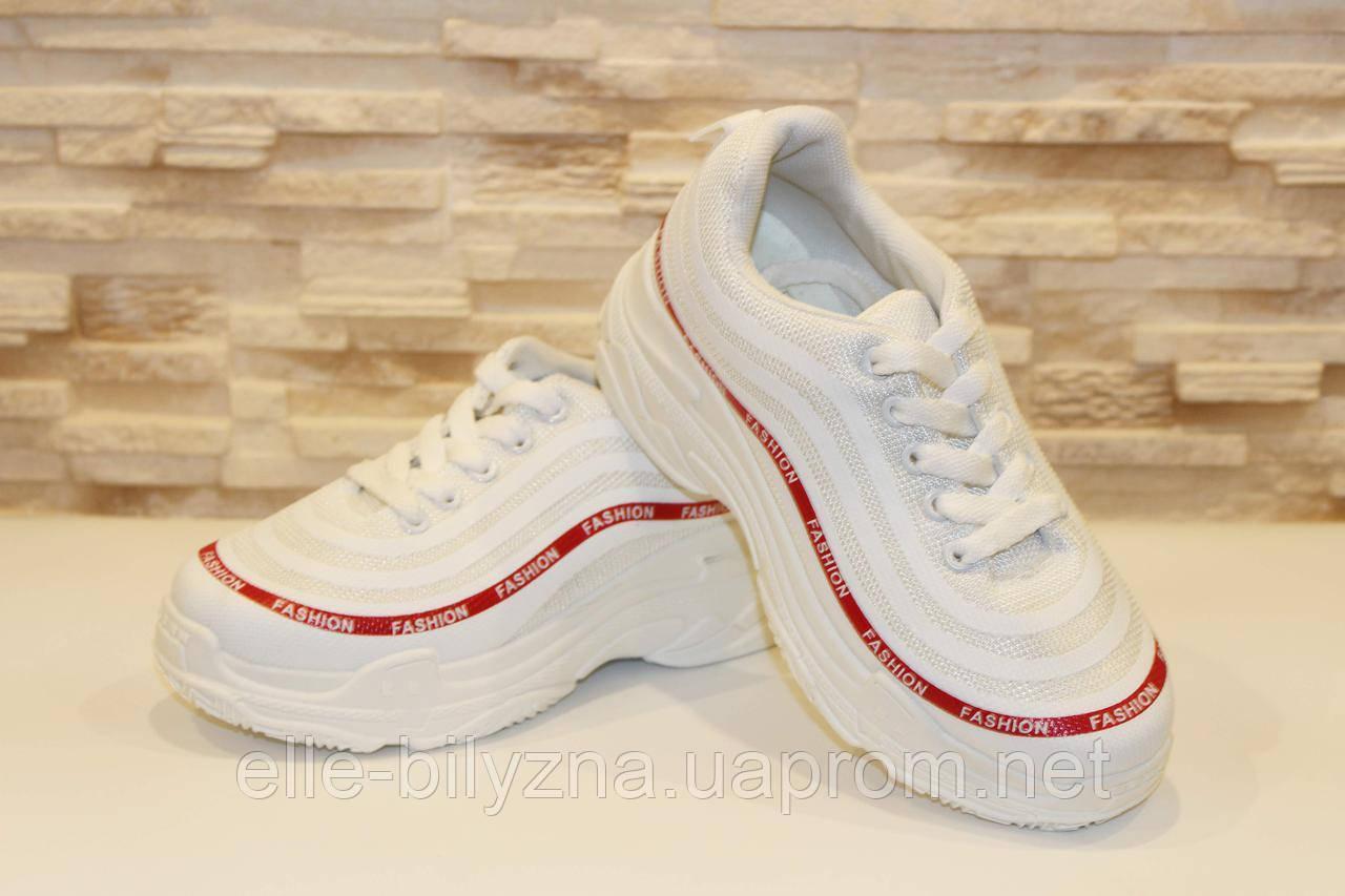 Кроссовки белые с красной полоской Т39