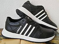 Кроссовки женские большого размера кожаные чёрные с тремя белыми полосками adidas для прогулок и спорта, фото 1