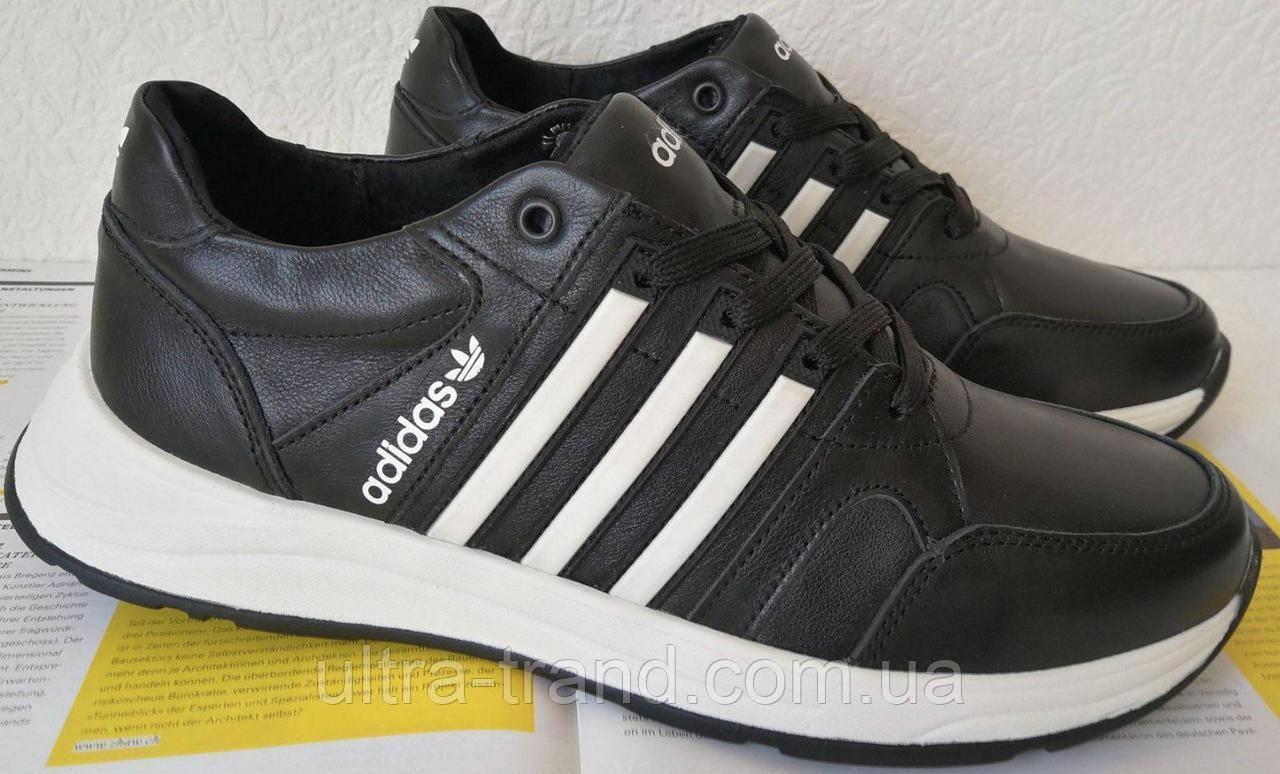 Кроссовки мужские кожаные чёрные с тремя белыми полосками adidas для прогулок и спорта