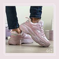 Женские кроссовки сетка/замша пудра, фото 1