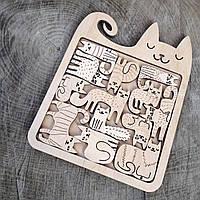 Іграшка з фанери декор Пазл головоломка Котики