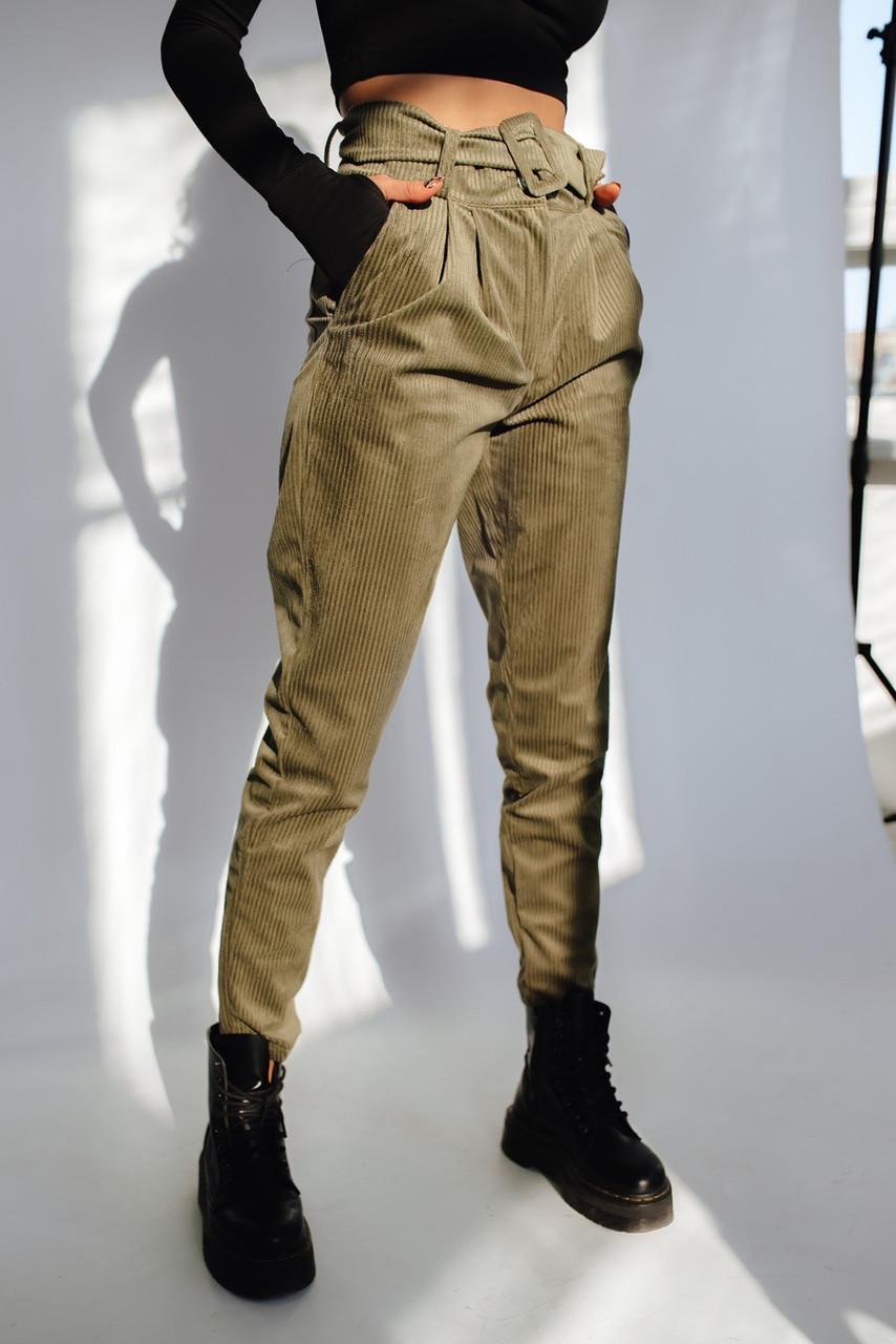 Женские вельветовые брюки с завышенной талией