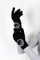 Женские перчатки трикотажные сенсорные Итан черные One size (PER1817)