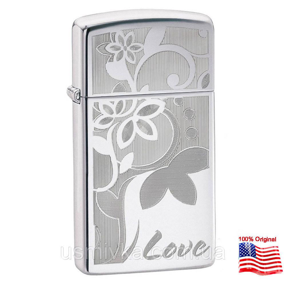 Зажигалка Zippo 24816 LOVE FLOWER серая 24816