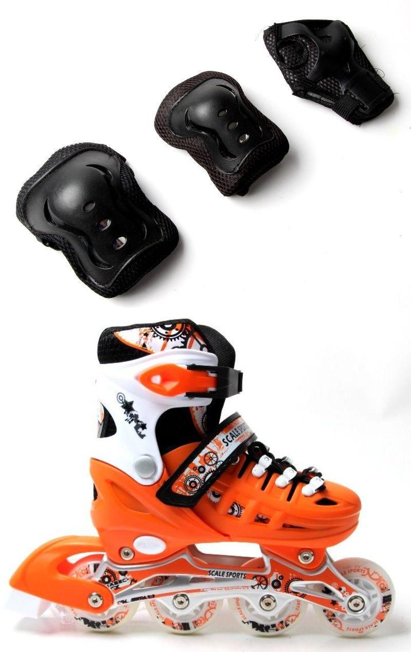 Ролики с защитой Scale Sports оранжевые, размеры 29-33, 34-38, 39-42