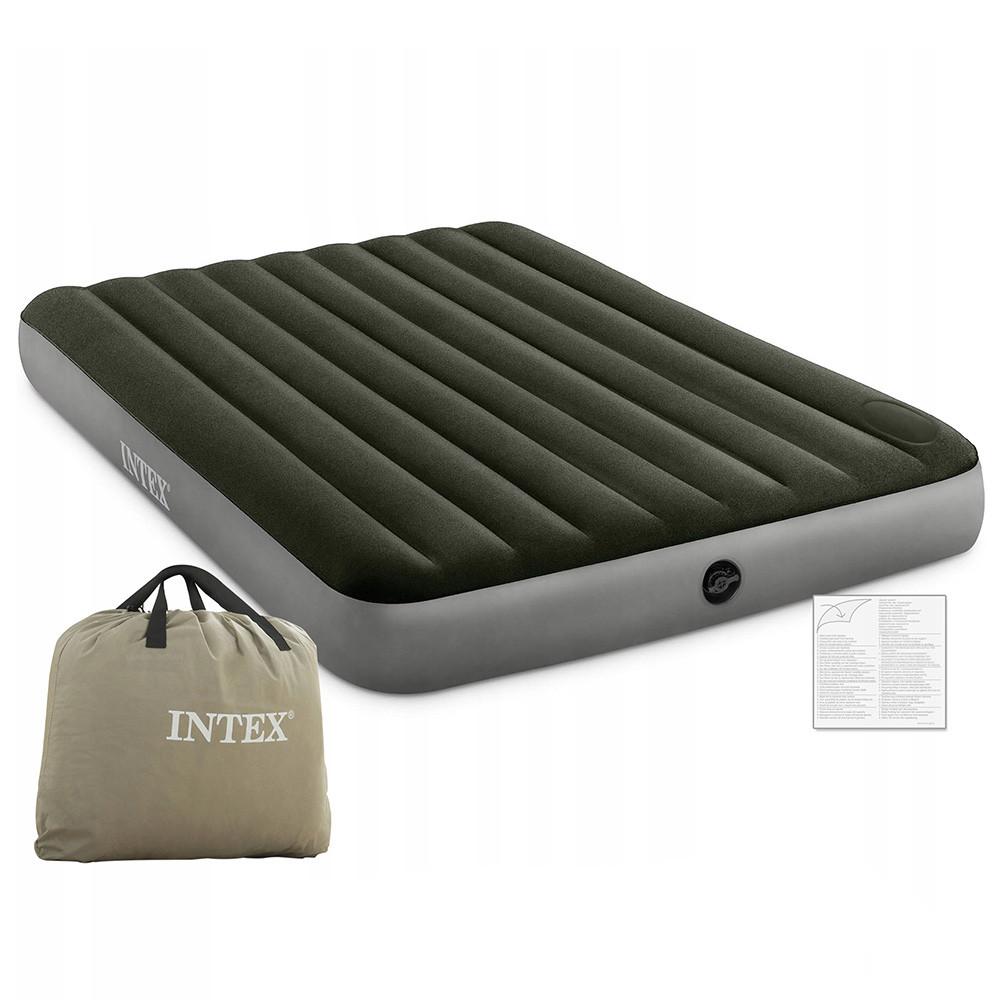 Надувной велюр матрас-кровать INTEX 64763 зеленый с ножным насосом