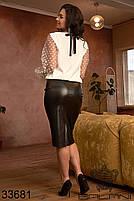 Костюм жіночий з білою блузою і чорною шкіряною спідницею на гумці з 48 по 62 розмір, фото 2