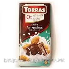 Шоколад без цукру Torras молочний з мигдалем Іспанія 75г