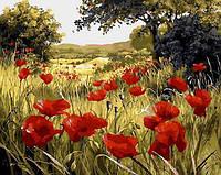 Картина по номерам Маковая поляна Q1432 в коробке Mariposa 40х50см Цветы, фрукты, натюрморты, еда
