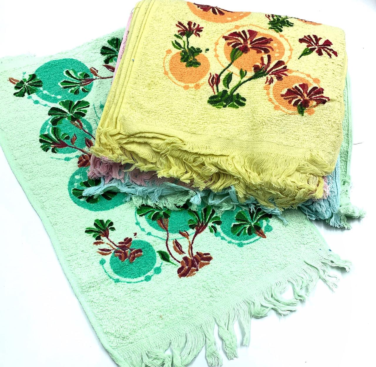Кухонное махровое полотенце «Цветы бахрома» 25х50 см - упаковка 20шт.