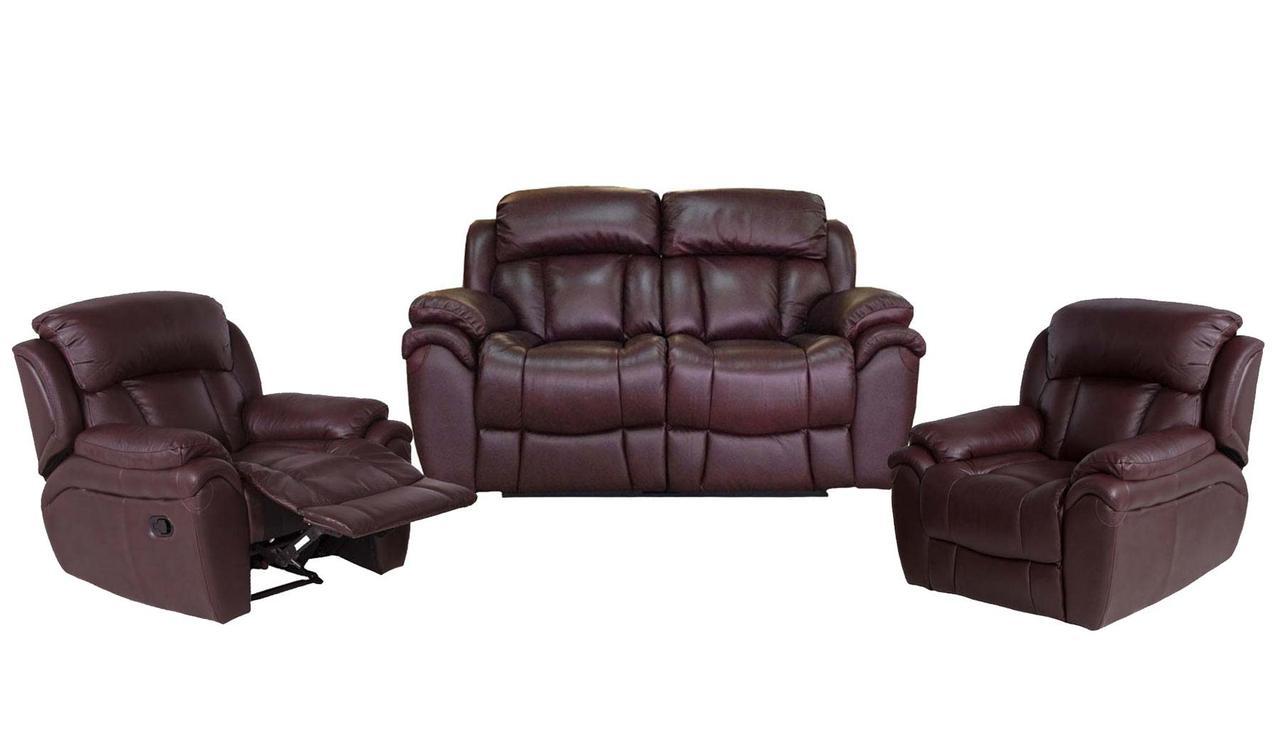Кожанный комплект мебели Boston с реклайнером, мягкая мебель, мебель в коже, кожаная мебель, комплект мебели
