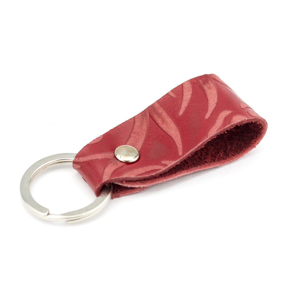 Брелок для ключей кожаный красный цветок Handycover