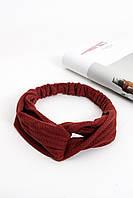 Повязки на голову - тюрбаны Повязка на голову Руби бордовая One size (P-2006)