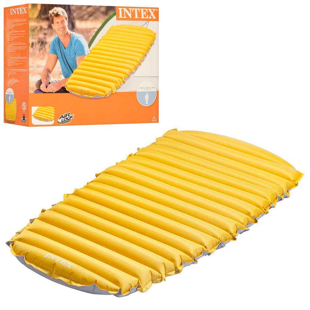 Надувной велюр матрас-кровать INTEX 68708 желтый
