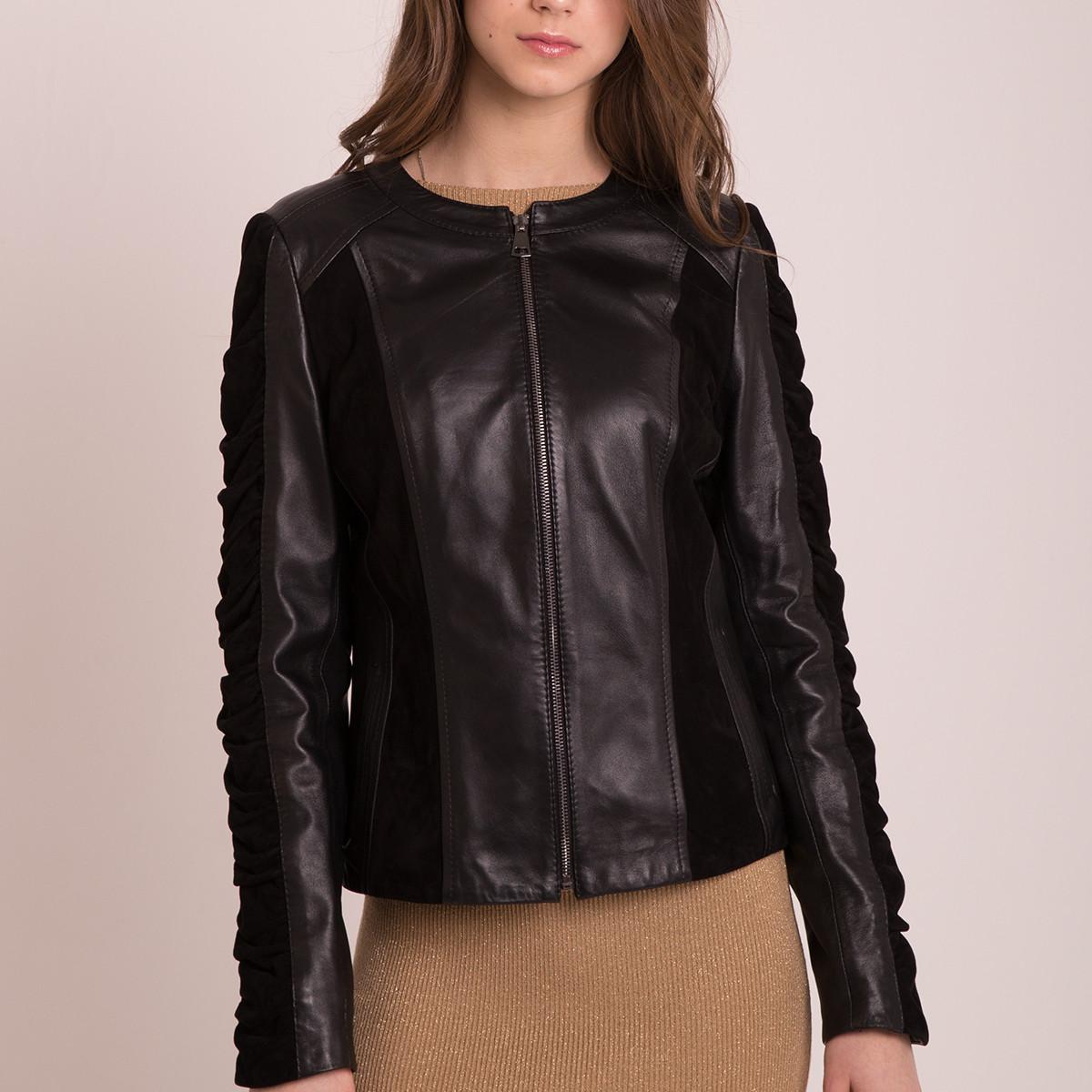 Кожаная куртка с замшей натуральная короткая женская (Арт.MONC201)
