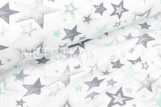 """Фланель дитяча зорепад """"Графіті"""" м'ятно-сірий на білому тлі №1699"""