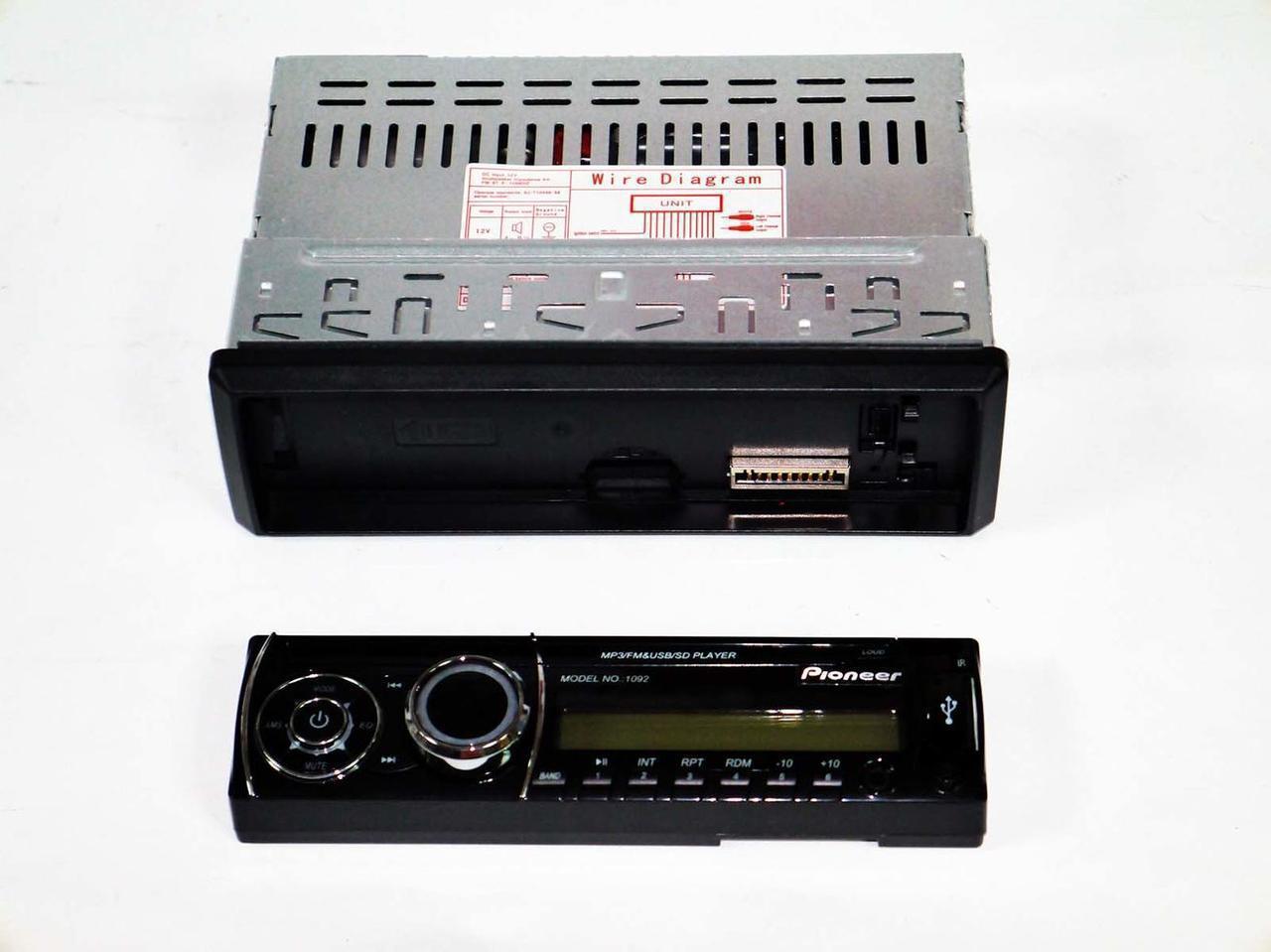 Магнитола Pioneer 1092 Съёмная панель, Магнитола автомобильная, Магнитола в машину НЕДОРОГО