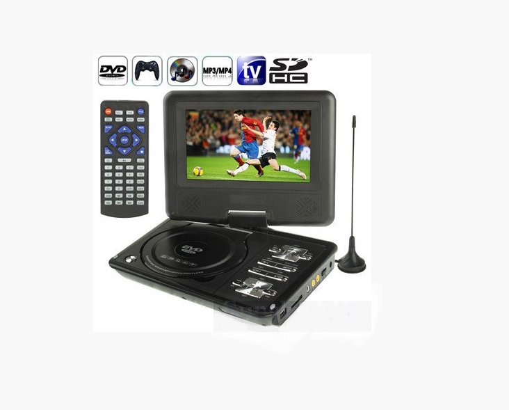 Мини DVD плеер 789 аккумулятор, TV тюнер USB Портативный переносной проигрыватель