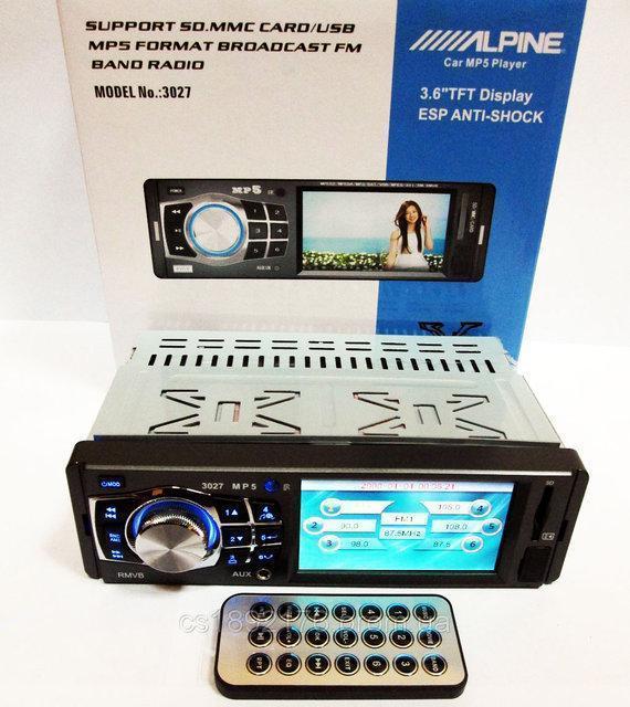 "НЕДОРОГО Магнитола Alpine 3027 3.6"" VIDEO экран USB+SD+FM+AUX"