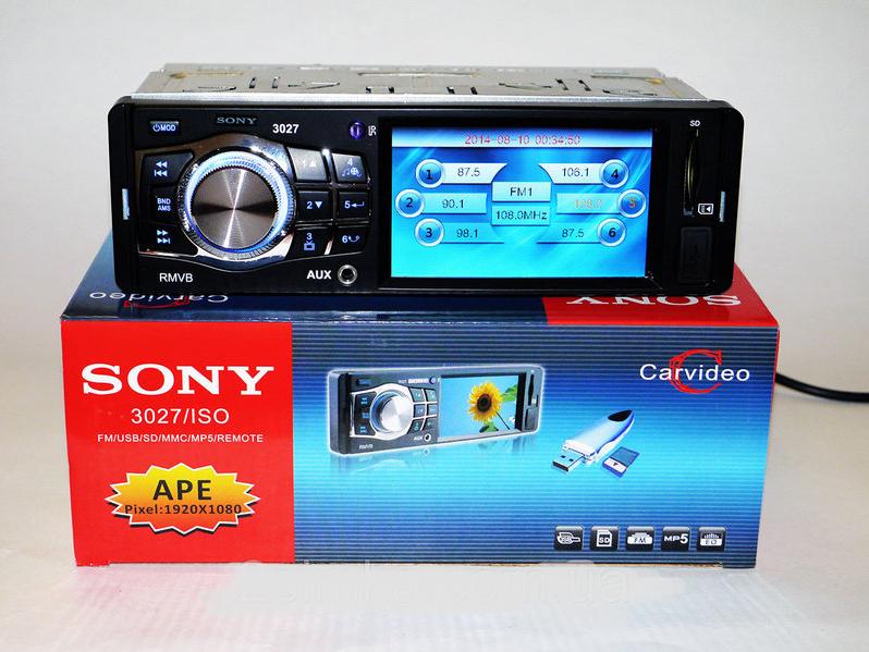 "Магнитола Для Автомобиля Sony 3027 3.6"" VIDEO экран USB+SD+FM+AUX------ БЕЗ ПРЕДОПЛАТЫ"