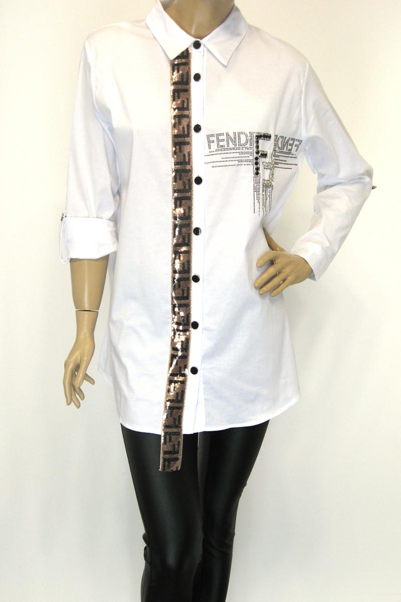 Жіноча сорочка-туніка з стразами Fendi