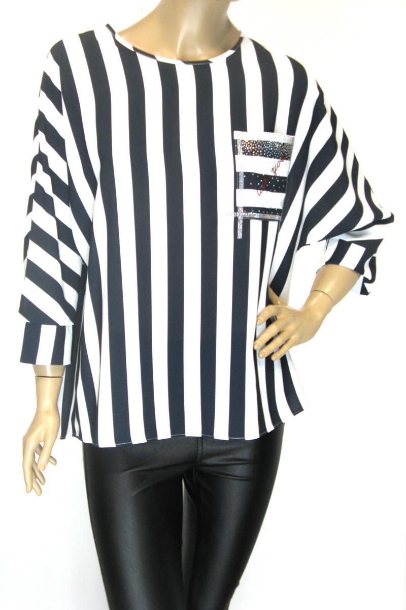 Нарядна шифонова блуза в полоску з стразами Microfone