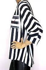 Нарядна шифонова блуза в полоску з стразами Microfone, фото 3