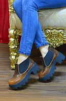 Ботинки лаковые тракторный каблук