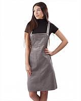 Вельветовый сарафан с карманами (в размерах XS-XL) светло-серый, S