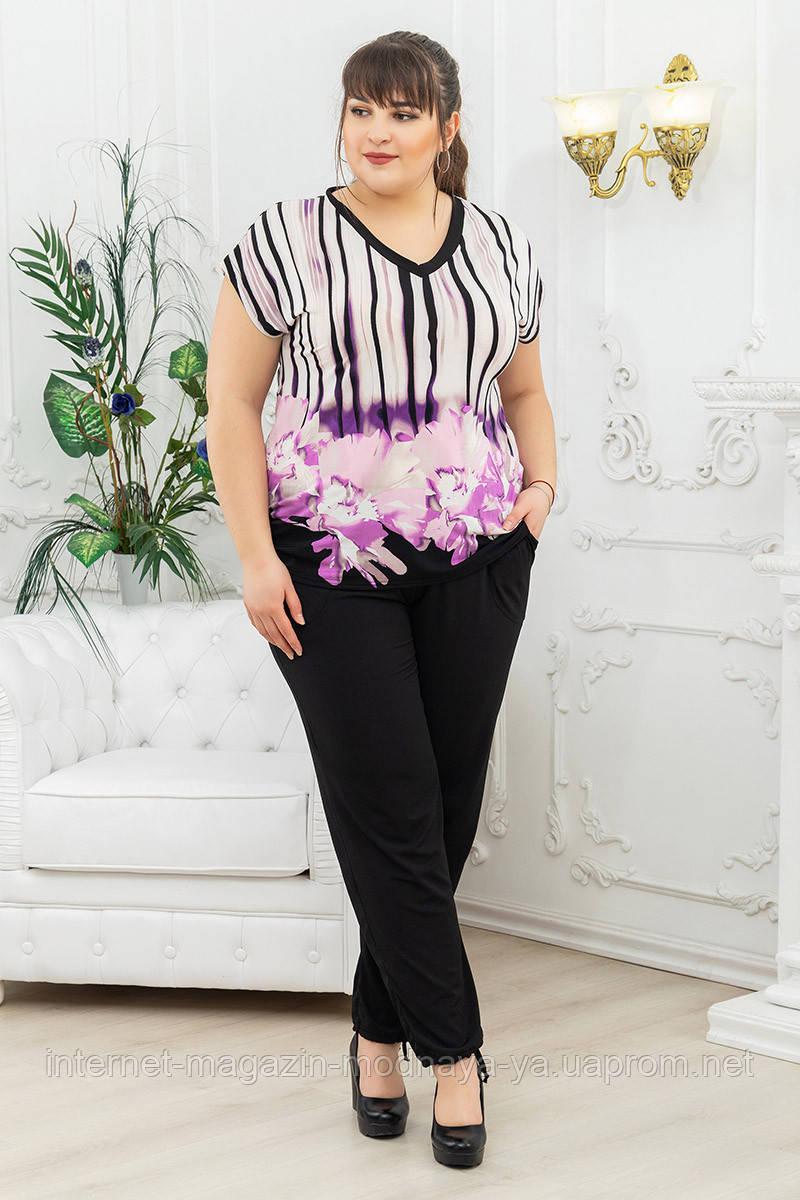 Брючный костюм женский большой размер р. 54-68 цветы