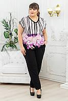 Брючный костюм женский большой размер р. 54-68 цветы, фото 1