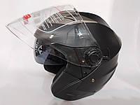 Мото шлем открытый, без подбородка с очками черный матовый