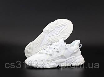 Женские кроссовки Adidas Ozweego Triple White (белые)