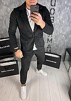 Мужской вельветовый классический черный костюм