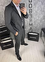 Мужской классический серый костюм