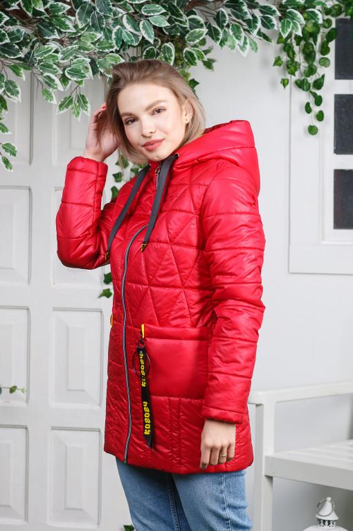 Весняна куртка- плащ Римма червоного кольору