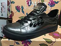 Женские спортивные туфли-кеды из натуральной кожи цвет никель