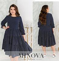 Синее платье в горошек батал Minova Фабрика моды Размеры: 50-52,  58-60, 62-64