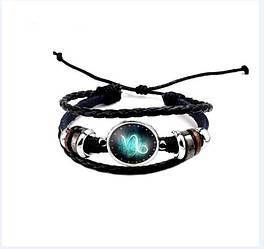 Черный женский/мужской браслет MISSITA из натуральной кожи со знаком зодиака Козерог (00097)