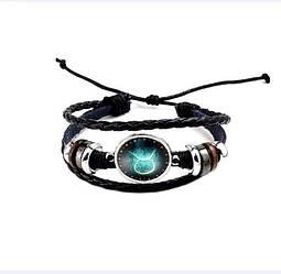 Черный женский/мужской браслет MISSITA из натуральной кожи со знаком зодиака  Телец (00096)