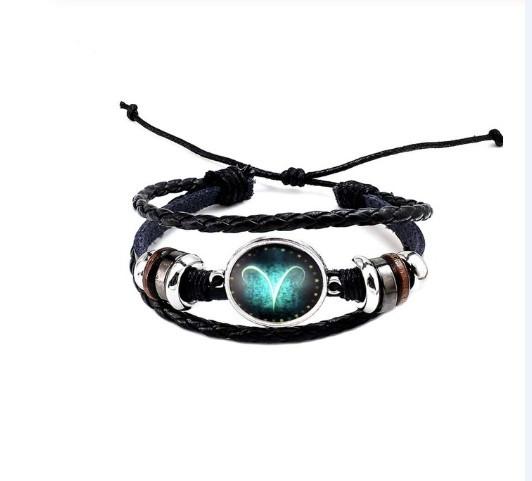 Черный женский/мужской браслет MISSITA из натуральной кожи со знаком зодиака  Овен (00099)
