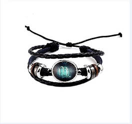 Черный женский/мужской браслет MISSITA из натуральной кожи со знаком зодиака  Скорпион (00098)