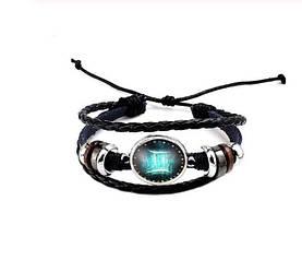 Черный женский/мужской браслет MISSITA из натуральной кожи со знаком зодиака  Близнецы (00100)