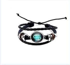 Черный женский/мужской браслет MISSITA из натуральной кожи со знаком зодиака  Рак (00101)