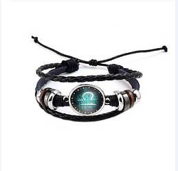 Черный женский/мужской браслет MISSITA из натуральной кожи со знаком зодиака  Весы (00103)