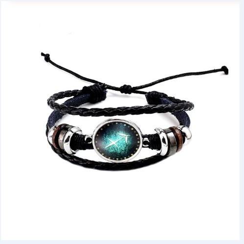 Черный женский/мужской браслет MISSITA из натуральной кожи со знаком зодиака  Стрелец (00104)